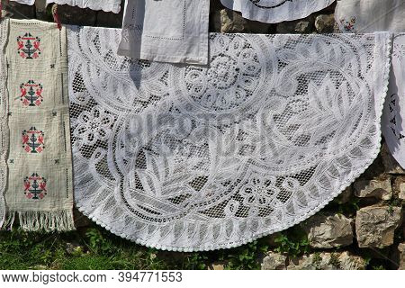 Art Embroidered Tablecloths In Berat City, Albania