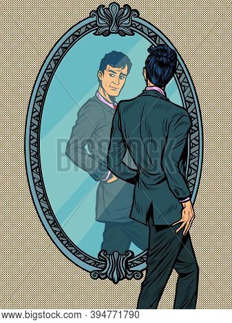 A Man In A Suit Looks In The Mirror, Narcissus. Pop Art Retro Illustration Kitsch Vintage 50s 60s St
