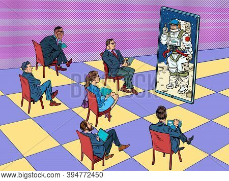 Remote Business Meeting With Astronauts Or A Presentation, Lecture, Training Through The Screen. Pop