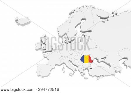 3d Europe Map With Marked Borders - Area Of Romania Marked With Romania Flag - Isolated On White Bac