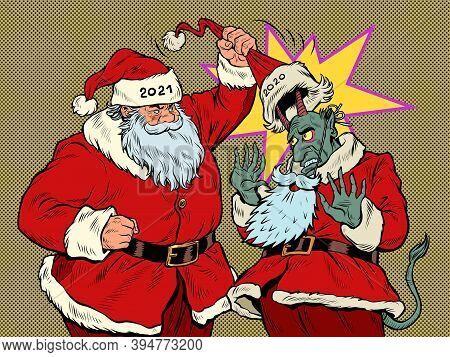 Santa Claus 2021 Reveals The Evil 2020. Pop Art Retro Illustration Kitsch Vintage 50s 60s Style