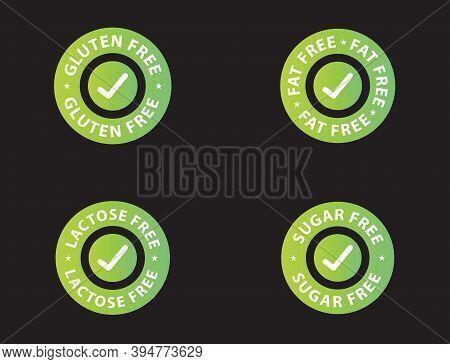 Gluten Free Icon, Fat Free Icon, Lactose Free Icon, Sugar Free Icon, Green Color Vector Illustration