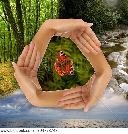 Conceptual recycling symbol made from hands photo-illustration. Ecology, environment, ecosystem, recycling concept.