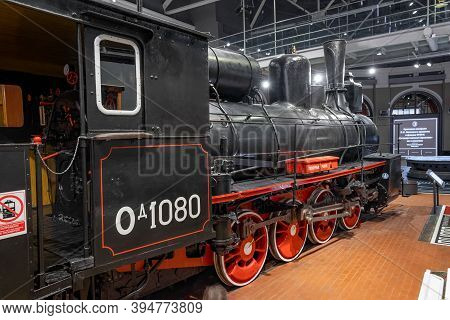 St. Petersburg, Russia, February 2020: Russian State Museum Of Steam Locomotives. Large Commodity Lo