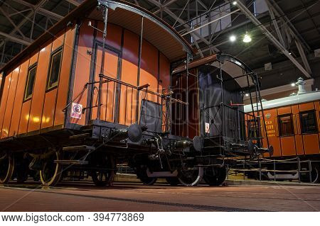 St. Petersburg, Russia, February 2020: Russian State Museum Of Steam Locomotives. A Variety Of Passe