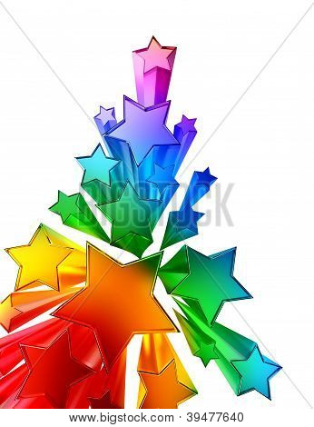 moving colored metallic stars on white background