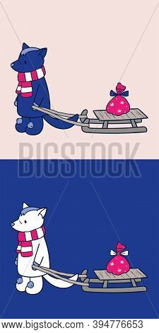 Wolf Pulling A Sled With A Christmas Gift Bag, Wearing A Scarf And Boots. Cute Cartoon Husky Dog Sle