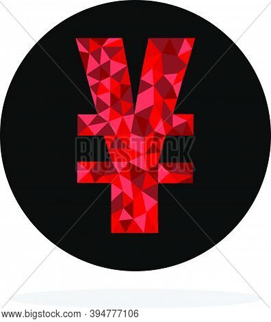 Red Polygonal Yuan And Yen Sign With Black Circle On White Background, Yuan And Yen Are Main Currenc