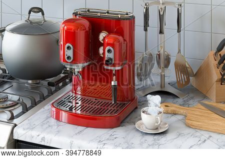 Coffeemaker Or Coffee Machine Retro Design On The Kitchen Table. 3d Rendering