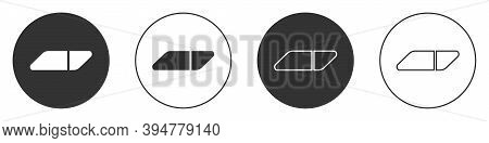 Black Eraser Or Rubber Icon Isolated On White Background. Circle Button. Vector Illustration