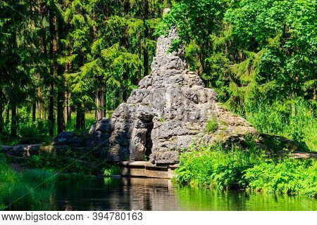 Dam With Cascade And Tuff Grotto In Catherine Park At Tsarskoye Selo In Pushkin, Russia