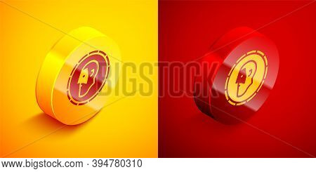 Isometric Ancient Coin Icon Isolated On Orange And Red Background. Circle Button. Vector
