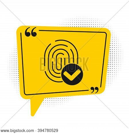 Black Fingerprint Icon Isolated On White Background. Id App Icon. Identification Sign. Touch Id. Yel