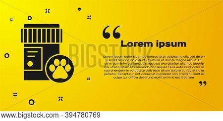 Black Dog Medicine Bottle Icon Isolated On Yellow Background. Container With Pills. Prescription Med