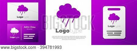 Logotype Cloud With Rain Icon Isolated On White Background. Rain Cloud Precipitation With Rain Drops