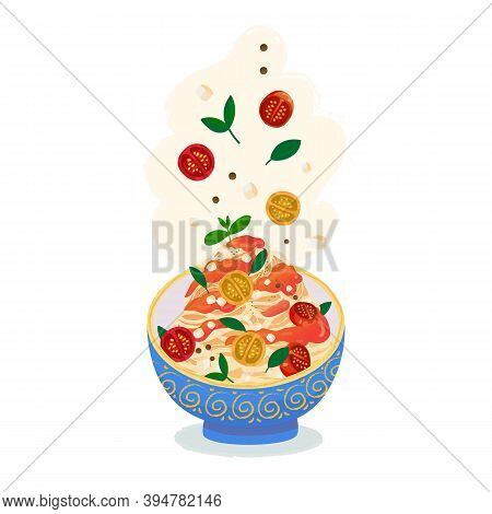 Pasta Or Spaghetti  Dish Isolated On White. Fettuccine Pasta With Tomato Filling And Cheese Toppings