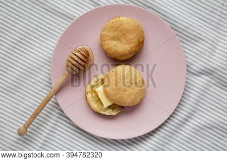 Homemade Flaky Buttermilk Biscuits On A Pink Plate, Top View. Flat Lay, Overhead, From Above.