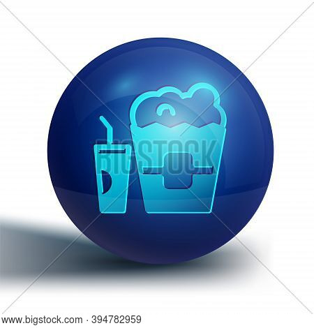 Blue Popcorn In Cardboard Box And Paper Glass With Drinking Straw And Water Icon Isolated On White B