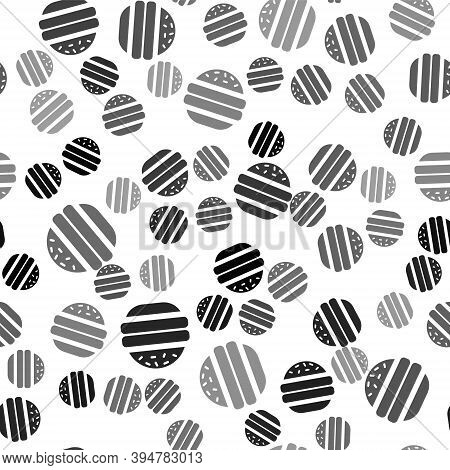 Black Burger Icon Isolated Seamless Pattern On White Background. Hamburger Icon. Cheeseburger Sandwi