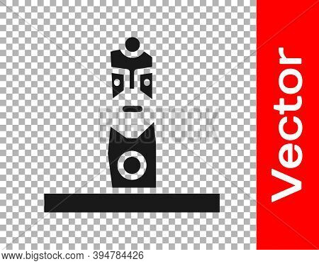 Black Slavic Pagan Idol Icon Isolated On Transparent Background. Antique Ritual Wooden Idol. Vector