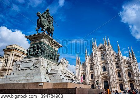 Milan, Italy - Oct 16, 2020: View of the Milan cathedral (Duomo di Milano) on a beautiful day, Milan, Italy