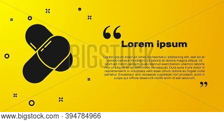 Black Sports Nutrition Bodybuilding Proteine Power Drink And Food Icon Isolated On Yellow Background