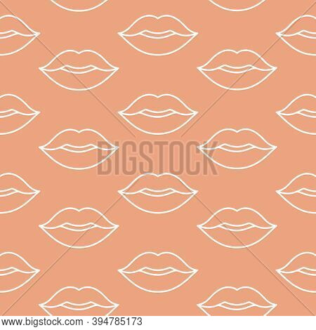 Lipstick Kiss Marks Seamless Pattern On A Nude Background. Romantic Background For Valentine's Day C