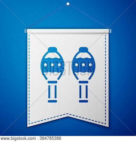 Blue Maracas Icon Isolated On Blue Background. Music Maracas Instrument Mexico. White Pennant Templa