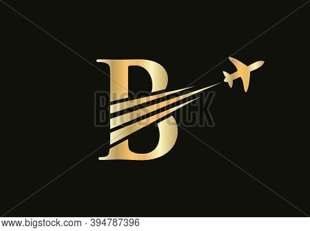 Creative Air Travel Logo Design With B Letter. B Letter Concept Air Plane And Travel Logo.