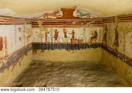 Tarquinia, Italy - 18 September 2020: Tomb Of Jugglers, One Of The Tombs Of The Etruscan Necropolis