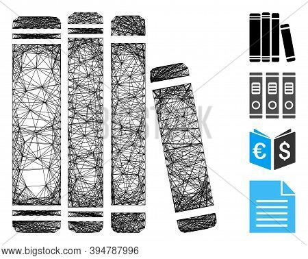 Vector Net Library Books. Geometric Wire Carcass Flat Network Generated With Library Books Icon, Des