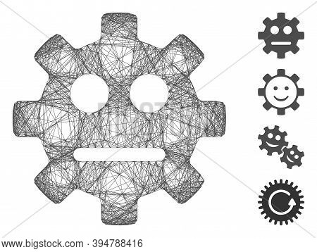 Vector Wire Frame Gear Pity Smiley. Geometric Wire Carcass Flat Net Generated With Gear Pity Smiley