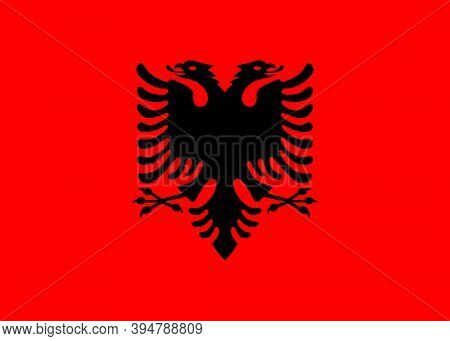 Flag Of Albania. The Concept Of Tourism, Travel, Geography, Politics, Economy, And Emigration.