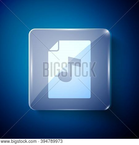 White Music Book With Note Icon Isolated On Blue Background. Music Sheet With Note Stave. Notebook F