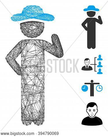 Vector Wire Frame Gentleman Proposal. Geometric Wire Frame Flat Network Generated With Gentleman Pro