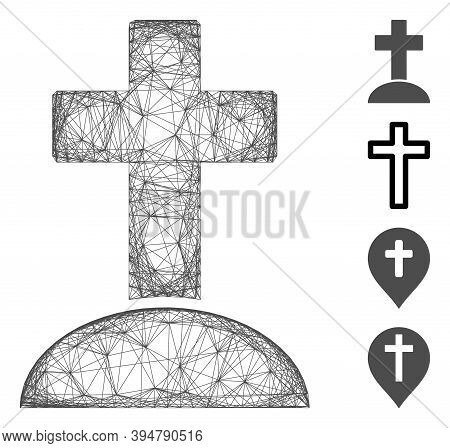 Vector Wire Frame Cemetery Cross. Geometric Wire Frame 2d Net Based On Cemetery Cross Icon, Designed