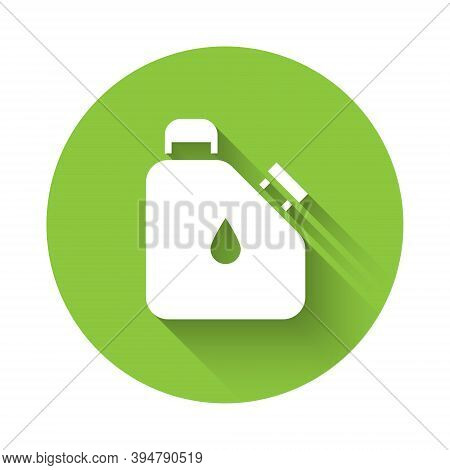 White Canister For Flammable Liquids Icon Isolated With Long Shadow. Oil Or Biofuel, Explosive Chemi
