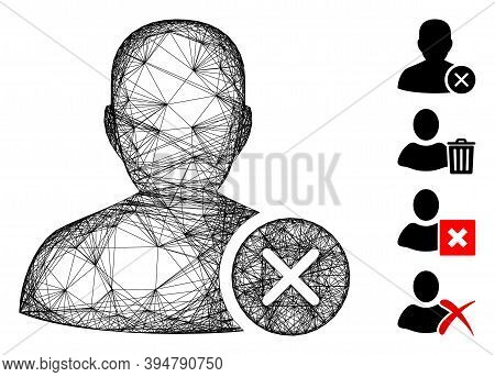 Vector Network User Erase. Geometric Wire Carcass 2d Network Generated With User Erase Icon, Designe