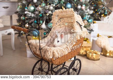 A White Rabbit Sits Inside A Retro Baby Stroller For Dolls. Christmas Decor, Christmas Tree With Lig
