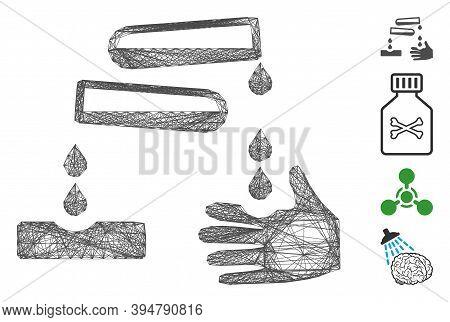 Vector Wire Frame Corrosive Drops. Geometric Wire Frame Flat Network Made From Corrosive Drops Icon,