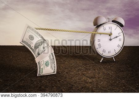Time On Clock Stop By Stack Of One Hundred Dollar Bills At Magenta Day. Your Next Stimulus Payment M
