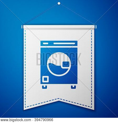 Blue Washer Icon Isolated On Blue Background. Washing Machine Icon. Clothes Washer - Laundry Machine