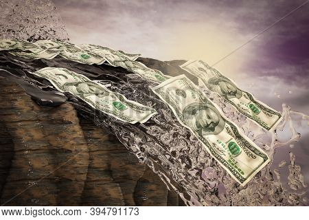 One Hundred Dollars Fall From A Waterfall At Sunset Magenta Day. Your Next Stimulus Payment May Be T