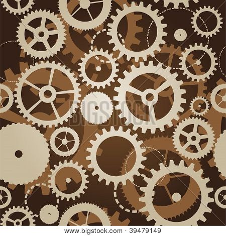 Seamless Pattern With Cogs And Gears