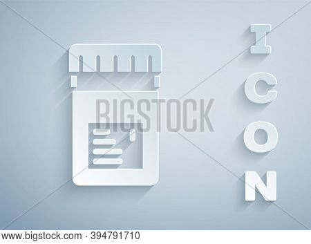 Paper Cut Biologically Active Additives Icon Isolated On Grey Background. Paper Art Style. Vector