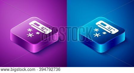 Isometric Air Conditioner Icon Isolated On Blue And Purple Background. Split System Air Conditioning