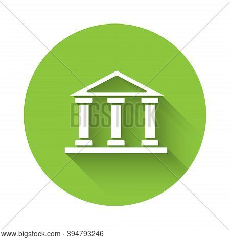 White Courthouse Building Icon Isolated With Long Shadow. Building Bank Or Museum. Green Circle Butt
