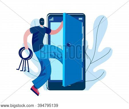 A Hacker With Lockpicks In His Hands Enters A Hacked Mobile Phone. Vector Illustration On The Topic