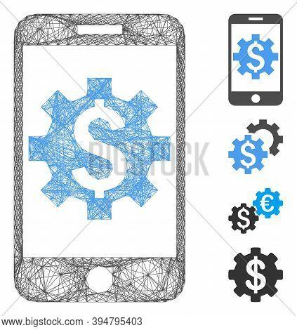 Vector Wire Frame Mobile Bank Setup. Geometric Wire Frame Flat Network Made From Mobile Bank Setup I