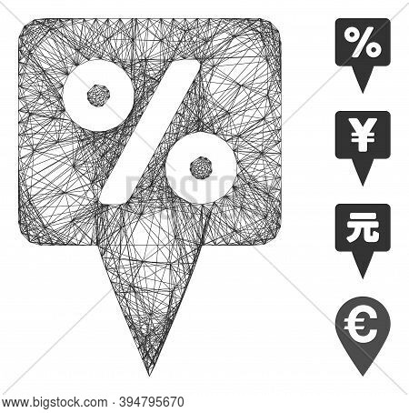Vector Network Percent Map Pointer. Geometric Wire Frame 2d Network Made From Percent Map Pointer Ic